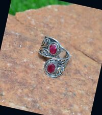 925 Sterling Silver Faceted Red Ruby Gemstone Adjustable Ring