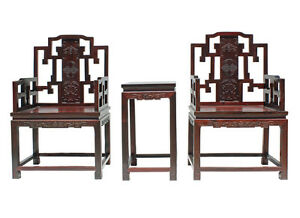 Vintage Chinese Red Rosewood Carved Armchair Set vs939