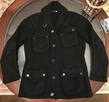 Ralph Lauren Black Label Moto Cashmere & Wool Jacket Sweater BLACK Sz Medium Fit