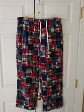 Men J. Crew Blue Red Patchwork Plaid Pull On Pajama Lounge Pants Size L 36 38