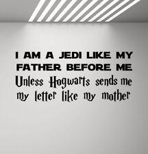 I Am A Jedi Like My Father Star Wars Wall Decal Harry Potter Vinyl Sticker 936