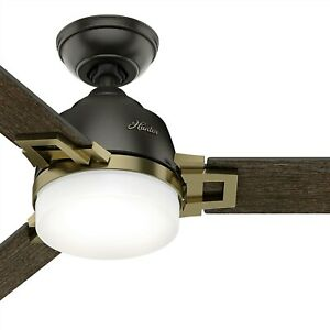 "Hunter 48"" Contemporary Ceiling Fan with LED Light and Remote, Noble Bronze"