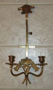 """Vintage Heavy Brass Double Candlestick Wall Candle Holder 15-18"""" High"""