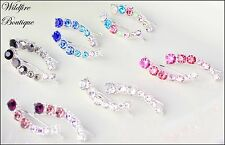 Stunning Silver Ear Climbers Earrings Ear Cuff Arc of Sparkly Coloured Crystals