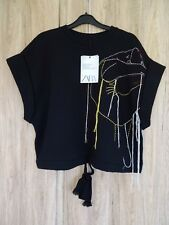 "ZARA ""STUDIO"" BLACK CROPPED LOOSE FIT EMBROIDERED SWEATSHIRT TOP SIZE XS-S"