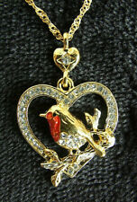 robin heart diamante pendant christmas gift