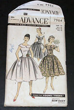 Vintage 1950s Pattern Advance 7964 Teen Dress Party Uncut FF Size 12