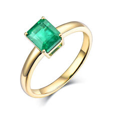Classic Style 4 prong Solid 14K Yellow Gold Natural Emerald Wedding Ring