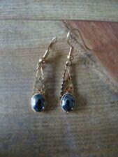 Drop Single Stone Earrings. Vintage Costume Jewellery: Hook