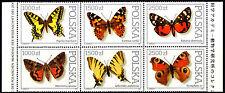 Poland 1991 Butterflies Block of 6 stamps MNH