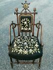 Antique Renaissance 1869 NY Sgnd Hunzinger Victorian Chair Acorn Faux Bamboo