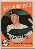 1959 Topps #345 Gil McDougald VG-VGEX Crease New York Yankees Free Shipping
