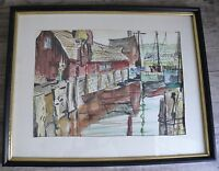 Nautical Watercolor Work Boats at Dock Painting on Paper Artist Signed Weddle