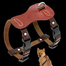 Genuine Leather Dog Harness Pet Puppy No Pull Dog Walking Harness Vest Brown S