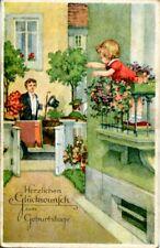 uralte AK, Herzlichen Glückwunsch zm Geburtstage, Mädchen auf Balkon und Galan