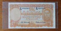 1952 HC Coombs, Roland Wilson First Prefix A75 (000380) Ten Shilling Banknote