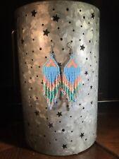 Pastel Native Earrings Vtg Beaded Statement Blue Peach Boho Long Handmade Beach