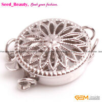 14K White Gold Filled Jewelry Making Flower Clasps, 2 Strands 13mm 1 Piece