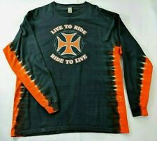 Live to Ride Mens Tee XL Ride to Live Iron Cross Barbed Wire Chain Tie Dye 2003