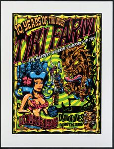 Dirty Donny Tiki Farm Anniversary Tiki Mug Party Dynotones Silkscreen Poster