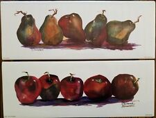 """B Sumrall  """"Pears"""" and """"Apples""""-  2 fruit fine art prints   Signed by the artist"""