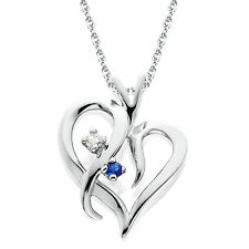 "Blue Sapphire & Diamond Heart Pendant 14 KT White Gold With 18"" Chain"