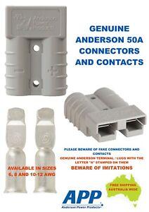 1 X GENUINE Anderson 50 AMP Plug & 2 X 6AWG Auto Contacts, Caravan, 4WD, 4X4