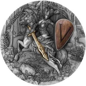 2020 Niue 2 Ounce Woman Warriors Valkyrie High Relief Gilded Antique Silver Coin
