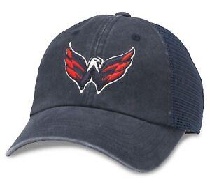Washington Capitals American Needle Raglan Bones NHL Hockey Blue Mesh Hat / Cap