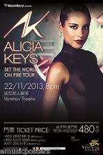 "Alicia Keys ""See The World On Fire Tour"" 2013 Macao, China Concert Poster - R&B"