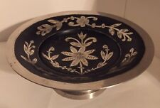 Vintage Etched Silver and Black Pedestal Candy Dish - Made in India
