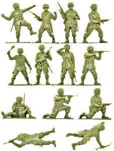 Airfix WWII U.S. Paratroops - 28 figures in 13 poses - 1990s Production - mint
