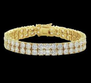 Yellow gold finish men's double row round cut created diamond bracelet