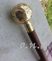 "Vintage Brass Designer Antique Style Wooden Walking Stick 36"" Gift Nautical Cane"