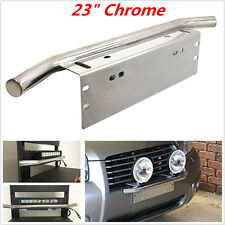 "23"" Chrome Bull Bar Front Bumper License Plate Mount Bracket Working Lamp Holder"