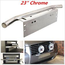 """23"""" Chrome Bull Bar Front Bumper License Plate Mount Bracket Working Lamp Holder"""