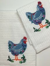 """Handmade Embroidered Hand Towel and Wash Cloth Set- """"COLORFUL CHICKEN"""""""