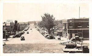 H6/ Gillette Wyoming Postcard RPPC c40s Gillette Ave Stores Autos