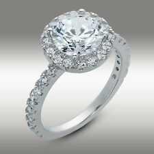 2.90 Ct Brilliant Round Cut Halo Engagement Ring Pave 14K White Gold No Reserve