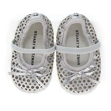 Stuart Weitzman Baby My First Silver Glitter Crib Shoes Size UK 1.5 3 - 6 month