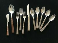N S Co. Wooden Handle  Stainless Flatware  11 Pieces