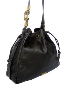 Gianfranco Ferre  Large Black Leather Gold Logo Drawstring Tote Crossbody