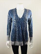 REBECCA TAYLOR Blue Gray Snake Print Tunic Sweater Size Small