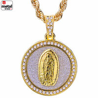 """Fashion Hip Hop 14K Gold Plated Guadalupe 24"""" Rope Chain Pendant Necklace Set"""