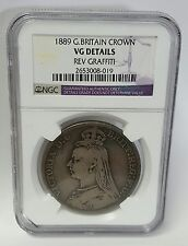 1889 GREAT BRITAIN SILVER CROWN VG DETAILS NGC GRAFFITI VICTORIA GEORGE & DRAGON