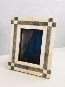 "Vintage Polished Marble Or Possibly Bone Inlaid Frame 6x7.5"""