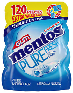 Mentos Pure Fresh Sugar-Free Chewing Gum with Xylitol, Fresh Mint, 120 Piece Bul