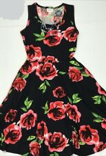 NWT LuLaRoe XL NICKI TANK TOP DRESS BLACK RED PINK ROSES FLORAL FLOWER NEW STYLE