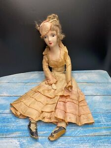 """Antique Composition Lady Doll 26"""" in Pink Dress Cloth Body #17"""