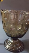 E.O. BRODY Co. Vintage Brown Thumbprint Footed Compote/Vase Glass
